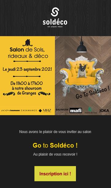 Salon Soldéco avec présentation des fournisseurs de parquets, linoleum, vinyles, tapis, rideaux, voilages, stores techniques...